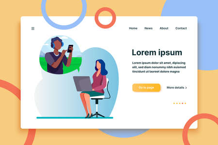 Young woman video chatting with guy via laptop. Chair, smartphone, conference flat vector illustration. Communication and digital technology concept for banner, website design or landing web page  イラスト・ベクター素材