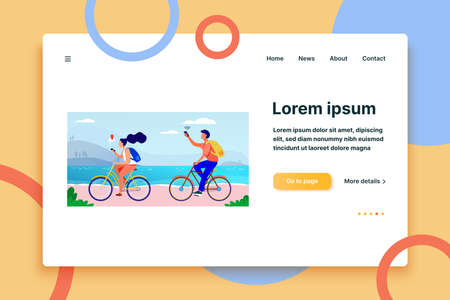 Young people cycling and using smartphones. Navigation, bicycle, network flat vector illustration. Travel and communication concept for banner, website design or landing web page