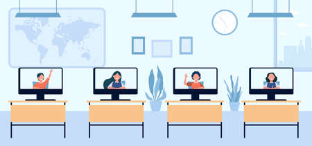 School children attending distance class. Monitors on desks in classroom, screen view. Flat vector illustration. Remote education, lockdown concept for banner, website design or landing web page