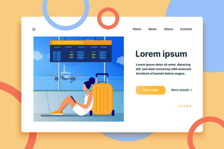 Young woman sitting in airport and using tablet. Plane, baggage, smartphone flat vector illustration. Communication and digital technology concept for banner, website design or landing web page