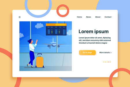 Woman consulting departure digital board in airport. Tourist with suitcase waiting boarding flat vector illustration. Travel, vacation concept for banner, website design or landing web page 免版税图像 - 164443960