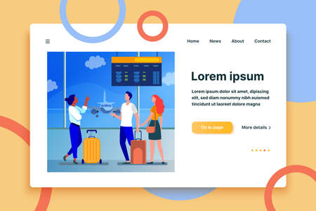 Young people waiting in airport for plane. Flight, airplane, baggage flat vector illustration. Travel, trip and vacation concept for banner, website design or landing web page  イラスト・ベクター素材