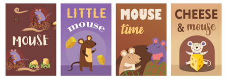 Trendy poster designs with cute mice. Vivid brochures with happy mouse with cheese on bright background. Rodents and animals concept. Template for promotional leaflet or flyer