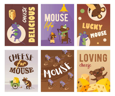 Bright greeting card designs with happy mice. Colored mouse with cheese, mice cycling and standing. Rodents and animals concept. Template for promotional leaflet or flyer  イラスト・ベクター素材
