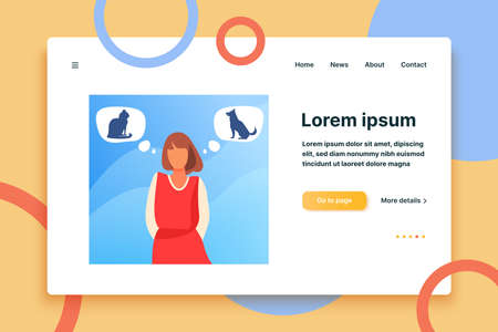 Woman choosing between cat and dog adoption. Pet owner, thought bubble, choice flat vector illustration. Animal care, adoption, lifestyle concept for banner, website design or landing web page  イラスト・ベクター素材