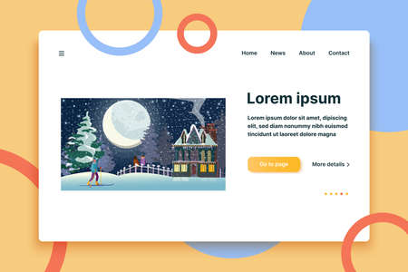 Young people enjoying winter outdoors. Dating couple, skiing girl, country mansion, night flat vector illustration. Outdoor activity, vacation concept for banner, website design or landing web page  イラスト・ベクター素材