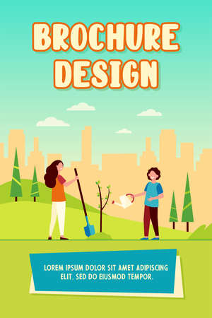 Kids planting tree in city park. Children with gardening tools working with green plants outdoors. Vector illustration for environment protection, gardening education concept