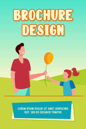 Cheerful man giving air balloon to little girl. Child, father, gift flat illustration. Fatherhood and childhood concept for banner, website design or landing web page