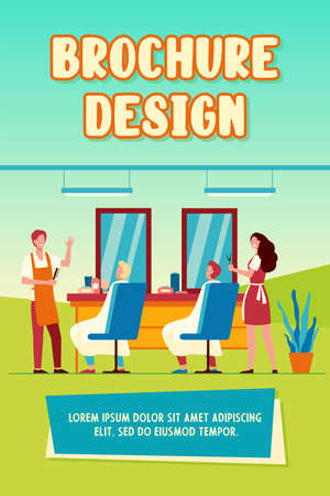 Man sitting in chair in barbershop isolated flat vector illustration. Cartoon hairdressers making haircut for clients. Hairdressing salon and fashion concept