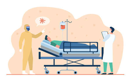 Doctors giving treatment to covid patient. Medical professionals in protective masks and costume. Flat vector illustration. Coronavirus hospital concept for banner, website design or landing web page