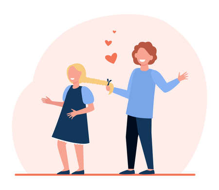 Boy in love pulling braid of hid girlfriend. Dating children, kids relationship. Flat vector illustration. Childhood, romance, friendship concept for banner, website design or landing web page
