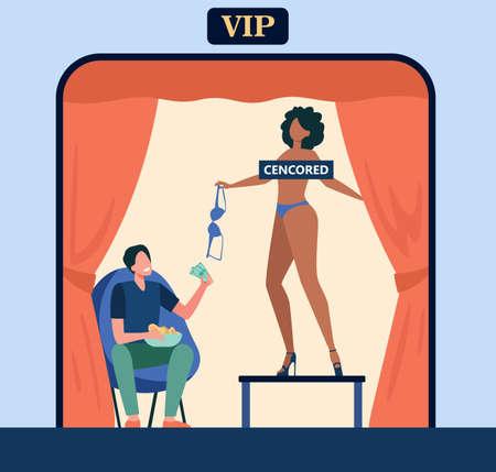 Bar customer watching striptease dance. Pole dancer job, vip zone, strip club client. Flat vector illustration. Adult show, entertainment concept for banner, website design or landing web page