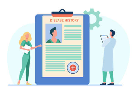 Doctors analyzing patients disease history. Practitioner work, physician job, diagnosis. Flat vector illustration. Medicine, hospital, treatment concept for banner, website design or landing web page