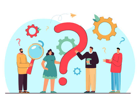 Tiny people asking questions and getting answers isolated flat vector illustration. Cartoon characters standing near huge question mark. Communication and business solution concept