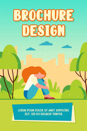Unhappy girl in rain. Sad woman sitting in rainy park outdoors flat vector illustration. Depression, stress, loneliness concept for banner, website design or landing web page