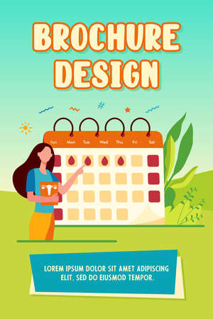 Woman checking menstruation calendar. Period, blood, lady flat illustration. Female health and organism concept for banner, website design or landing web page 矢量图像