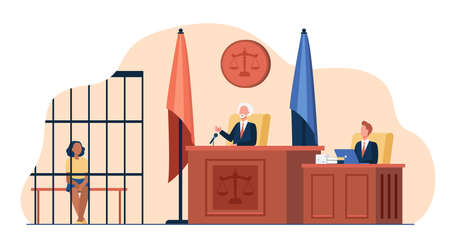 Judge reading verdict to accused in before court. Trial process, defendant in cage, assistant. Flat vector illustration. Courtroom, justice, law concept for banner, website design or landing web page