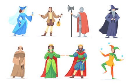 Set of medieval cartoon characters in historical costumes. Flat vector illustration. Fantasy king, queen, princess, wizard, executioner, bard of renaissance period. Fairytale, history concept
