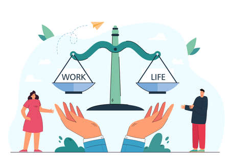 Man balancing life and work on scales. Controlling time for career and relationship or family flat vector illustration. Work and life balance concept for banner, website design or landing web page