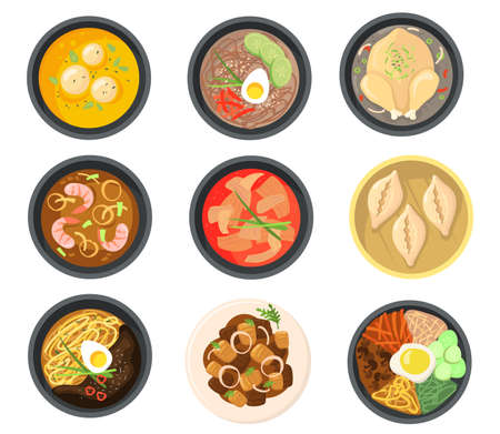 Top view of different dishes from South Korean flat pictures collection. Cartoon Asian soups, dumplings and meal on plates isolated vector illustrations. Traditional cuisine and food concept
