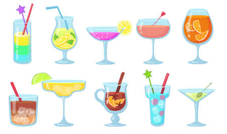 Creative popular alcohol cocktails flat pictures set. Cartoon gin, martini, gluehwein, juice, pina colada in glasses isolated vector illustrations. Drinks and beverages concept Ilustración de vector