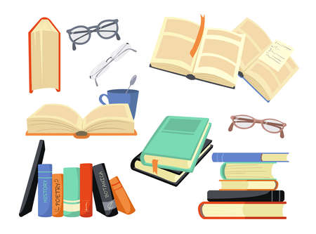 Cartoon set of different colorful books and reading symbols. Flat vector illustration. History, poetry, philosophy books and glasses. Study, literature, scholarship, information concept for design Vector Illustration