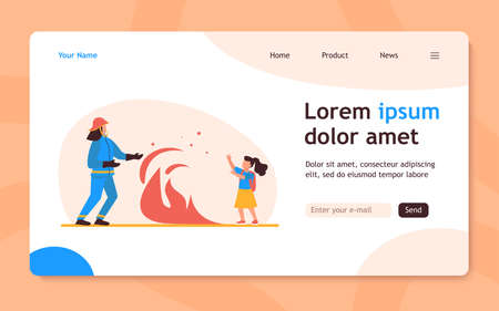 Firefighter saving girl life. Flame between firemen in protective suit and child with schoolbag flat vector illustration. Fire hazard, emergency concept for banner, website design or landing web page
