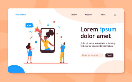 Tiny young people listening woman on smartphone screen. Phone, loudspeaker, network flat vector illustration. Advertising and digital technology concept for banner, website design or landing web page 向量圖像