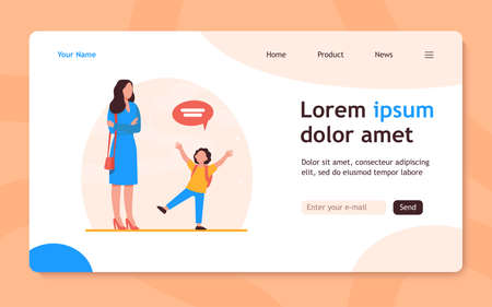 Mom with folded hands listening kid. Child, speech bubble, conversation flat vector illustration. Communication and parenthood concept for banner, website design or landing web page