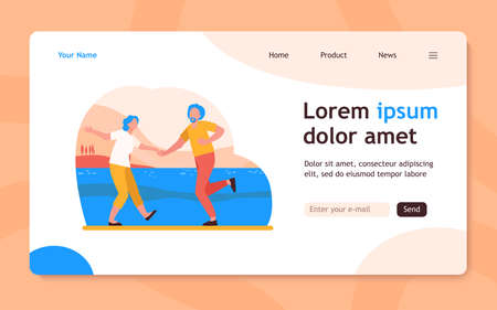Senior couple dancing outdoors. Old man and woman dancing rock-n-roll flat vector illustration. Active lifestyle, leisure time together concept for banner, website design or landing web page