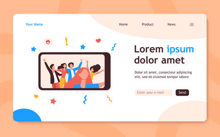 Happy friends taking selfie on smartphone during party. Fun, mobile phone, holiday flat vector illustration. Friendship and celebration concept for banner, website design or landing web page