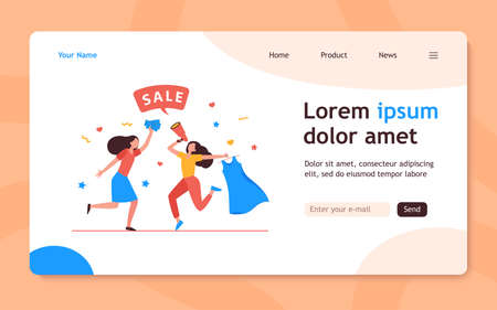 Girls celebrating sale in fashion store. Women dancing, announcing sale, buying clothes flat vector illustration. Shopping, discount, marketing concept for banner, website design or landing web page 向量圖像