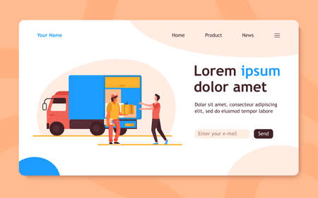 Order delivery service. Courier giving parcel box to customer near truck flat vector illustration. Shipping, logistics, transportation concept for banner, website design or landing web page