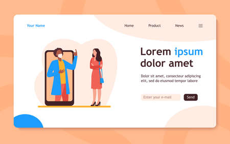 Man in mask on phone screen explaining something to woman. Smartphone, quarantine, virus flat vector illustration. Pandemic and protection concept for banner, website design or landing web page