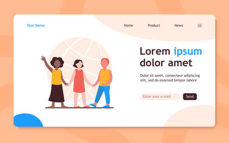 Multiethnic kids holding hands. Globe in background. World, multinational, friend flat vector illustration. Diversity and nations concept for banner, website design or landing web page 向量圖像