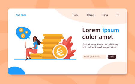 Young woman with laptop sitting on pile of gold coins. Dollar, cash, money flat vector illustration. Finance and investment concept for banner, website design or landing web page