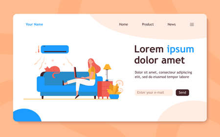 Woman sitting on sofa with cat and laptop under air conditioner. Girl, cooling, couch flat vector illustration. Home and freelance concept for banner, website design or landing web page