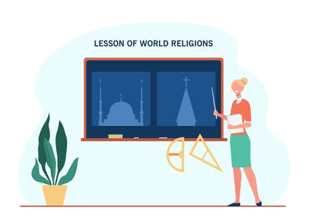 Female teacher explaining about world religions. Lesson, faith, church flat vector illustration. Education and study concept for banner, website design or landing web page