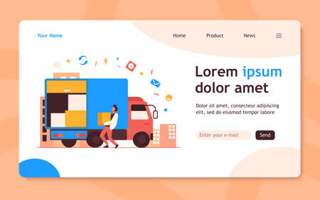 Loading workman carrying box in truck. Parcel, logistics, cardboard flat vector illustration. Delivery service and shipping concept for banner, website design or landing web page