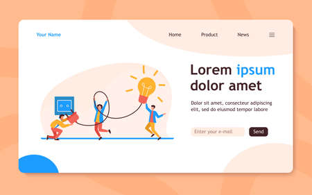 Tiny people turning on bulb into socket. Idea, lamp, electricity flat vector illustration. Brainstorming and creativity concept for banner, website design or landing web page