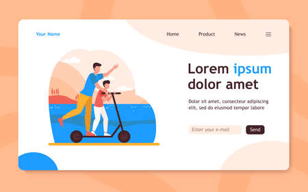 Young father riding on electric scooter with son. Family, landscape, park flat vector illustration. Activity and summer vacation concept for banner, website design or landing web page 向量圖像