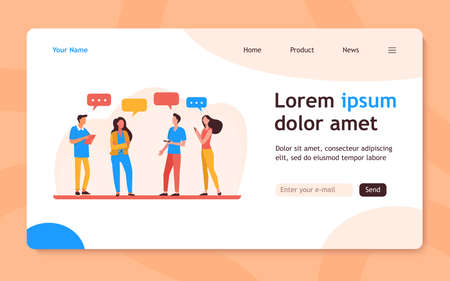 Young people standing and talking each other. Speech bubble, smartphone, girl flat vector illustration. Communication and discussion concept for banner, website design or landing web page 向量圖像