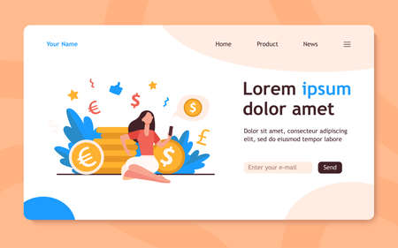 Rich woman sitting and using smartphone. Coin, money, investment flat vector illustration. Finance and transaction concept for banner, website design or landing web page