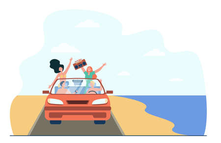 Happy young people riding on beach in car. Sea, vehicle, recorder flat vector illustration. Vacation and holiday concept for banner, website design or landing web page