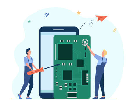 Tiny technicians repairing smartphone. Screwdriver, phone, board flat vector illustration. Digital technology and repair service concept for banner, website design or landing web page 向量圖像