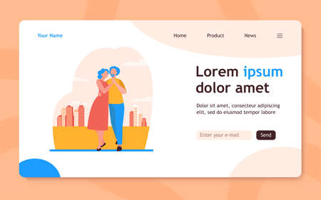 Senior couple dancing outside. Old man and woman holding hands and embracing flat vector illustration. Love, relationship, elderly age concept for banner, website design or landing web page