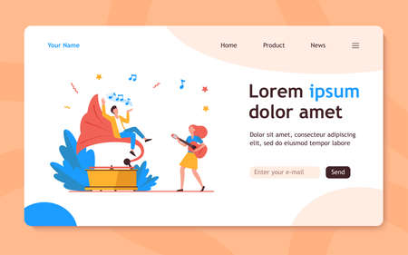 Guy listening to music at retro gramophone. Girl playing guitar and singing flat vector illustration. Entertainment, performing, leisure concept for banner, website design or landing web page 向量圖像