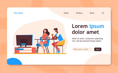 Couple sitting at table and watching TV. Together, coffee, family flat vector illustration. Leisure and entertainment concept for banner, website design or landing web page 向量圖像