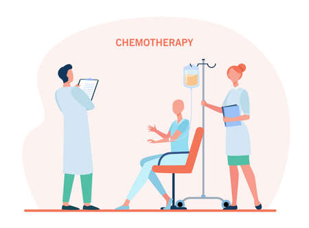 Doctors treating patient with chemotherapy. Disease, cancer, clinic flat vector illustration. Medicine and treatment concept for banner, website design or landing web page 向量圖像