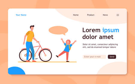 Dad giving bike to joyful son. Red haired boy, speech bubble, bicycle flat vector illustration. Activity, childhood, family concept for banner, website design or landing web page 向量圖像